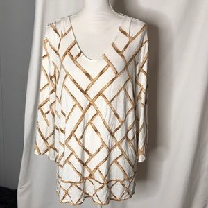 Chico's Size 3 Cut out Tee Bell Sleeves Split Hem